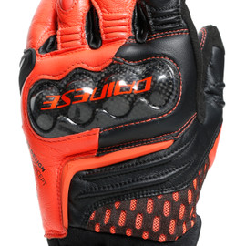 CARBON 3 SHORT GLOVES BLACK/FLUO-RED- Leder
