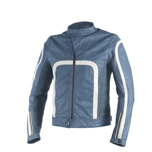 YANG LEATHER JACKET QUING-BLUE/WHITE- Blousons