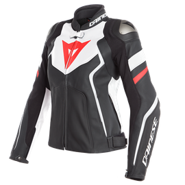 AVRO 4 LADY LEATHER JACKET BLACK-MATT/WHITE/FLUO-RED