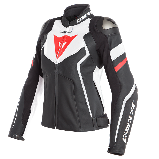 AVRO 4 LADY LEATHER JACKET BLACK-MATT/WHITE/FLUO-RED- Piel