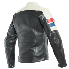 8-TRACK LEATHER JACKET BLACK/ICE/RED- Leather