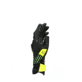 CARBON 3 SHORT GLOVES BLACK/CHARCOAL-GRAY/FLUO-YELLOW- Leather