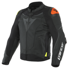 VR46 VICTORY LEATHER JACKET BLACK/FLUO-YELLOW