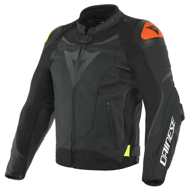 VR46 VICTORY LEATHER JACKET BLACK/FLUO-YELLOW- VR46