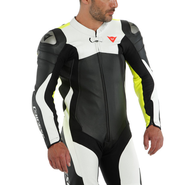 ASSEN 2 1 PC. PERF. LEATHER SUIT BLACK/WHITE/FLUO-YELLOW- One Piece Suits