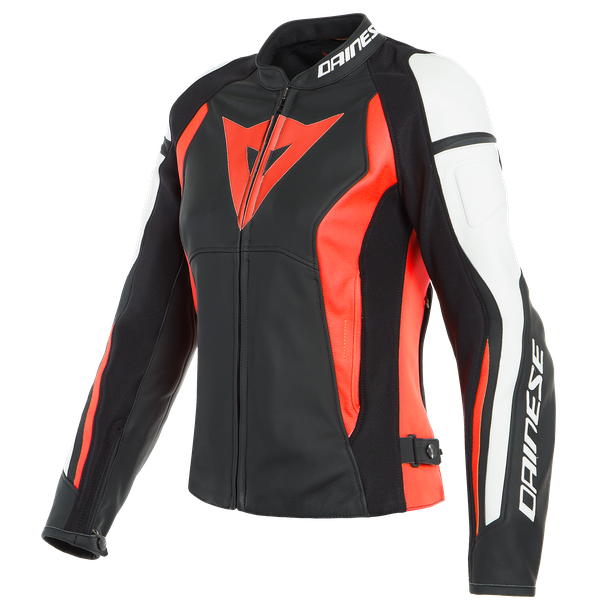 NEXUS LADY LEATHER JACKET BLACK/FLUO-RED/WHITE- Leather