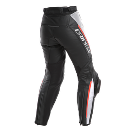 DELTA 3 PERF. LADY LEATHER PANTS BLACK/WHITE/RED- Hosen