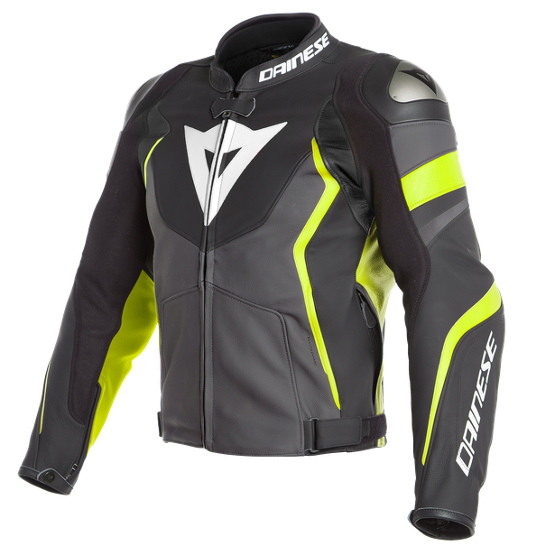 AVRO 4 LEATHER JACKET BLACK-MATT/CHARCOAL-GRAY/FLUO-YELLOW- Leather