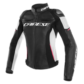 RACING 3 LADY LEATHER JACKET BLACK/WHITE/FUCHSIA- Pelle