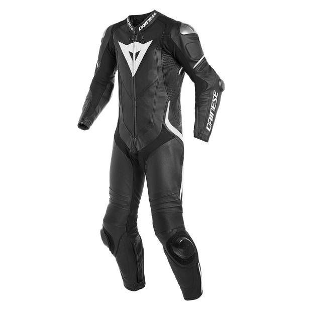 LAGUNA SECA 4 1PC PERF. LEATHER SUIT BLACK/BLACK/WHITE- Promotions Leather suits
