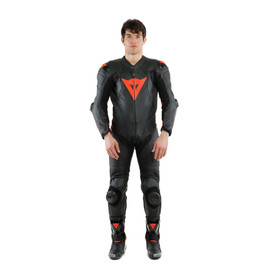 LAGUNA SECA 5 1PC LEATHER SUIT PERF. BLACK/FLUO-RED- Lederkombi