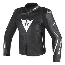 ASSEN PERFORATED LEATHER JACKET NERO/NERO/BIANCO- Leather