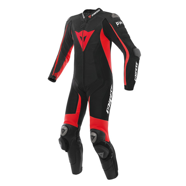 Misano D-air® Perforated suit BLACK/BLACK/FLUO-RED- Motorbike