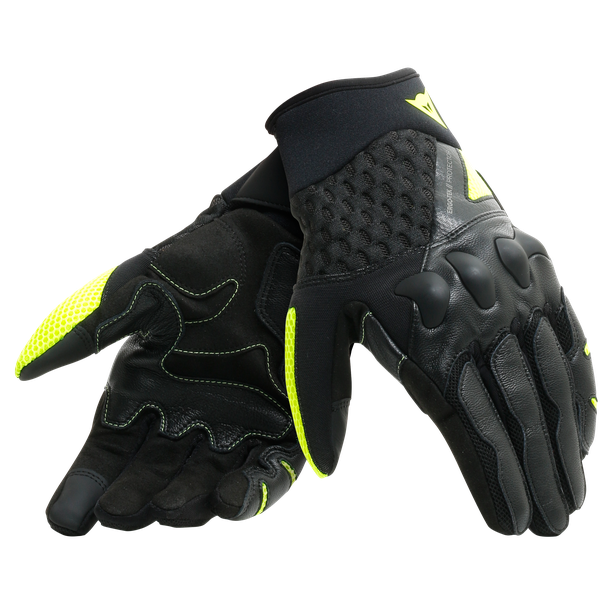 X-MOTO UNISEX GLOVES BLACK/FLUO-YELLOW- Leder