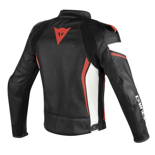 ASSEN PERFORATED LEATHER JACKET BLACK/WHITE/RED-FLUO- Leather