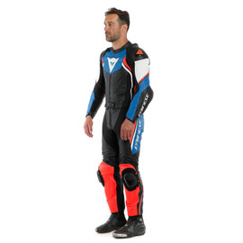 AVRO D2 2PCS SUIT BLACK/LIGHT-BLUE/FLUO-RED- Divisibili