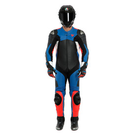 ASSEN 2 1 PC. PERF. LEATHER SUIT BLACK/LIGHT-BLUE/FLUO-RED- Professionnelles