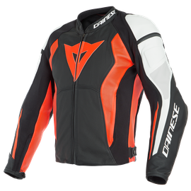 NEXUS LEATHER JACKET PERF. BLACK/FLUO-RED/WHITE