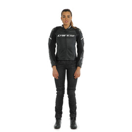 RACING 3 D-AIR LADY LEATHER JACKET BLACK-MATT/BLACK-MATT/PEARL-WHITE- D-air