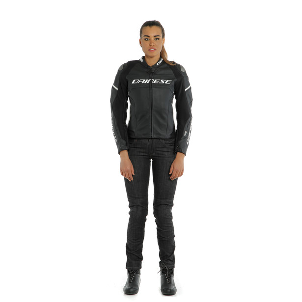 RACING 3 D-AIR LADY LEATHER JACKET BLACK-MATT/BLACK-MATT/PEARL-WHITE- undefined