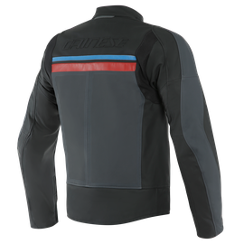 HF 3 PERF. LEATHER JACKET BLACK/EBONY/RED/BLUE- Leder