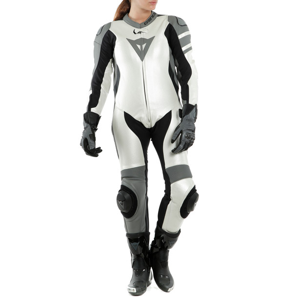 KILLALANE 1 PC PERF. LADY LEATHER SUIT PEARL-WHITE/CHARCOAL-GRAY/BLACK- One Piece Suits