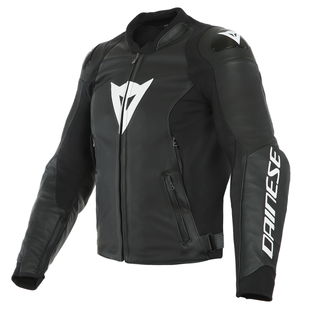 SPORT PRO LEATHER JACKET PERF. BLACK/WHITE- Leder