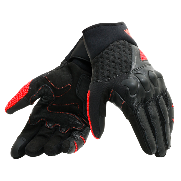 X-MOTO UNISEX GLOVES BLACK/FLUO-RED- Pelle