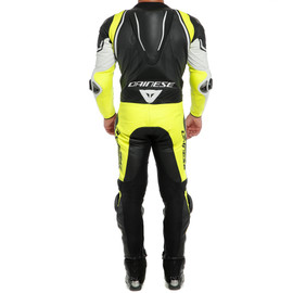 LAGUNA SECA 4 1PC PERF. LEATHER SUIT WHITE/BLACK/FLUO-YELLOW- One Piece Suits