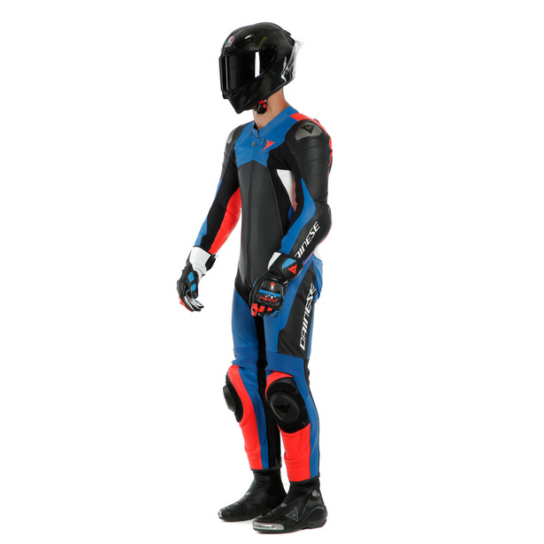 ASSEN 2 1 PC. PERF. LEATHER SUIT BLACK/LIGHT-BLUE/FLUO-RED- Einteiler