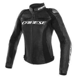 RACING 3 LADY LEATHER JACKET BLACK/BLACK/BLACK