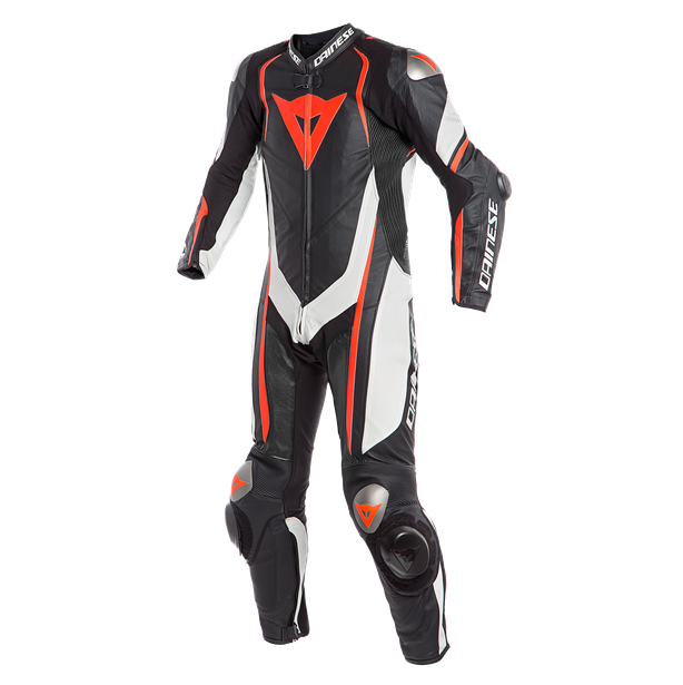 KYALAMI  1PC PERF. LEATHER SUIT BLACK/WHITE/FLUO-RED- Profesionales