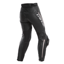 DELTA 3 PERF. LADY LEATHER PANTS BLACK/BLACK/WHITE- Leder