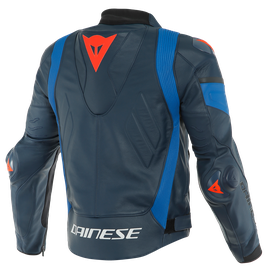 SUPER RACE LEATHER JACKET BLACK-IRIS/LIGHT-BLUE/FLUO-RED- Leder