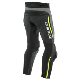 ALPHA PERF. LEATHER PANTS BLACK/MATT-GRAY/FLUO-YELLOW- Pelle