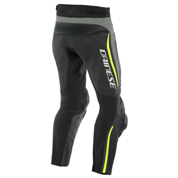 ALPHA PERF. LEATHER PANTS BLACK/MATT-GRAY/FLUO-YELLOW- Leder