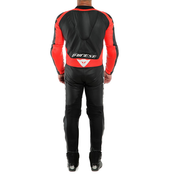 ASSEN 2 1 PC. PERF. LEATHER SUIT BLACK/BLACK/FLUO-RED- Professionnelles