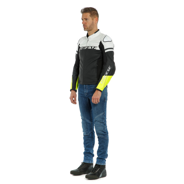 AGILE LEATHER JACKET BLACK-MATT/WHITE/FLUO-YELLOW- Piel