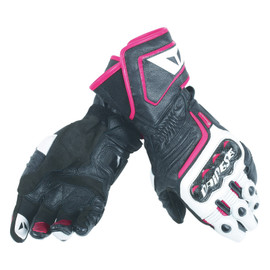 CARBON D1 LONG LADY GLOVES BLACK/WHITE/FUCHSIA- Leather