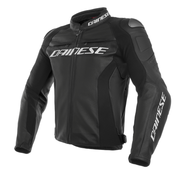 RACING 3 PERF. LEATHER JACKET BLACK/BLACK/BLACK- Piel