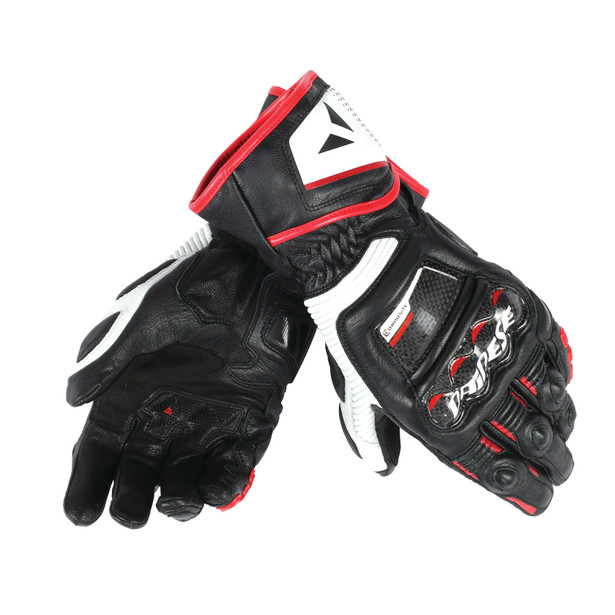 DRUID D1 LONG GLOVES BLACK/WHITE/LAVA-RED- Leather