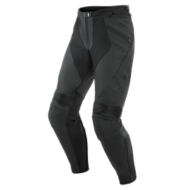 PONY 3 SHORT/TALL LEATHER PANTS BLACK-MATT- Piel
