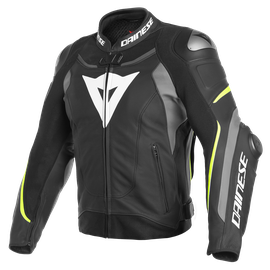 SUPER SPEED 3 LEATHER JACKET BLACK/MATT-GRAY/FLUO-YELLOW