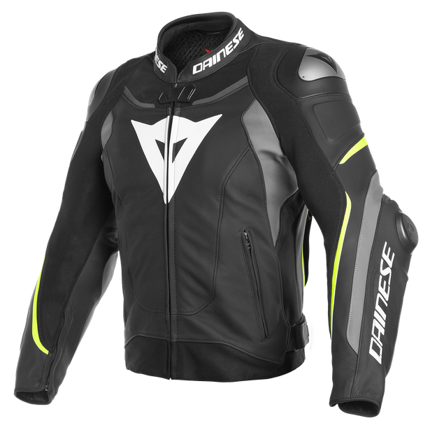 SUPER SPEED 3 LEATHER JACKET BLACK/MATT-GRAY/FLUO-YELLOW- Leder