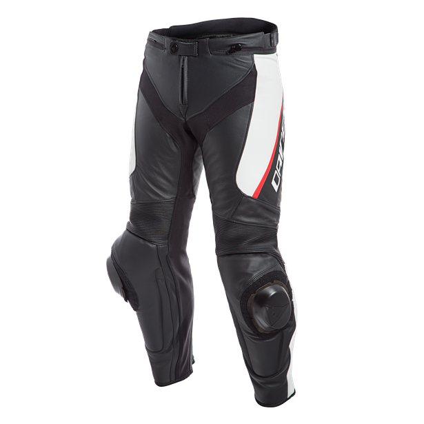 DELTA 3 LEATHER PANTS BLACK/WHITE/RED- Pelle