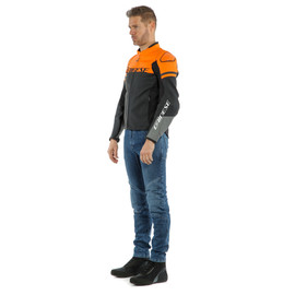 AGILE LEATHER JACKET BLACK-MATT/ORANGE/CHARCOAL-GRAY- Pelle