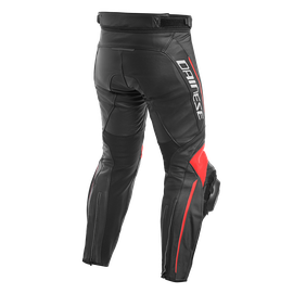 DELTA 3 LEATHER PANTS BLACK/BLACK/FLUO-RED- Leather