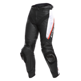 DELTA 3 LADY LEATHER PANTS BLACK/WHITE/RED- Mujer