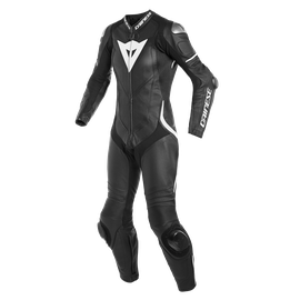 LAGUNA SECA 4 1PC PERF. LADY LEATHER SUIT BLACK/BLACK/WHITE- One Piece Suits