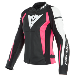 NEXUS LADY LEATHER JACKET BLACK/FUCHSIA/WHITE- Leder
